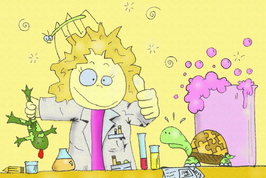 disegno fumetto ludmilla science mirko con la k
