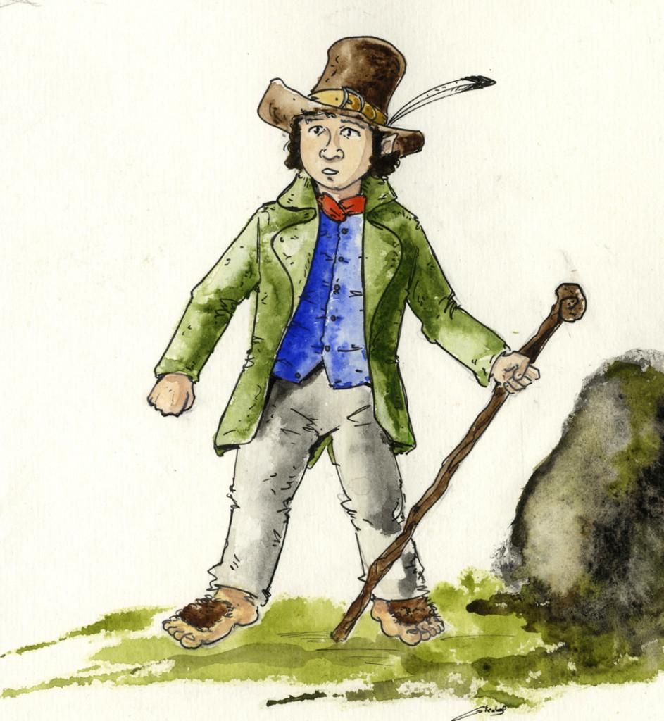 Un hobbit (personaggio di Tolkien) disegnato da Antoine Glédel